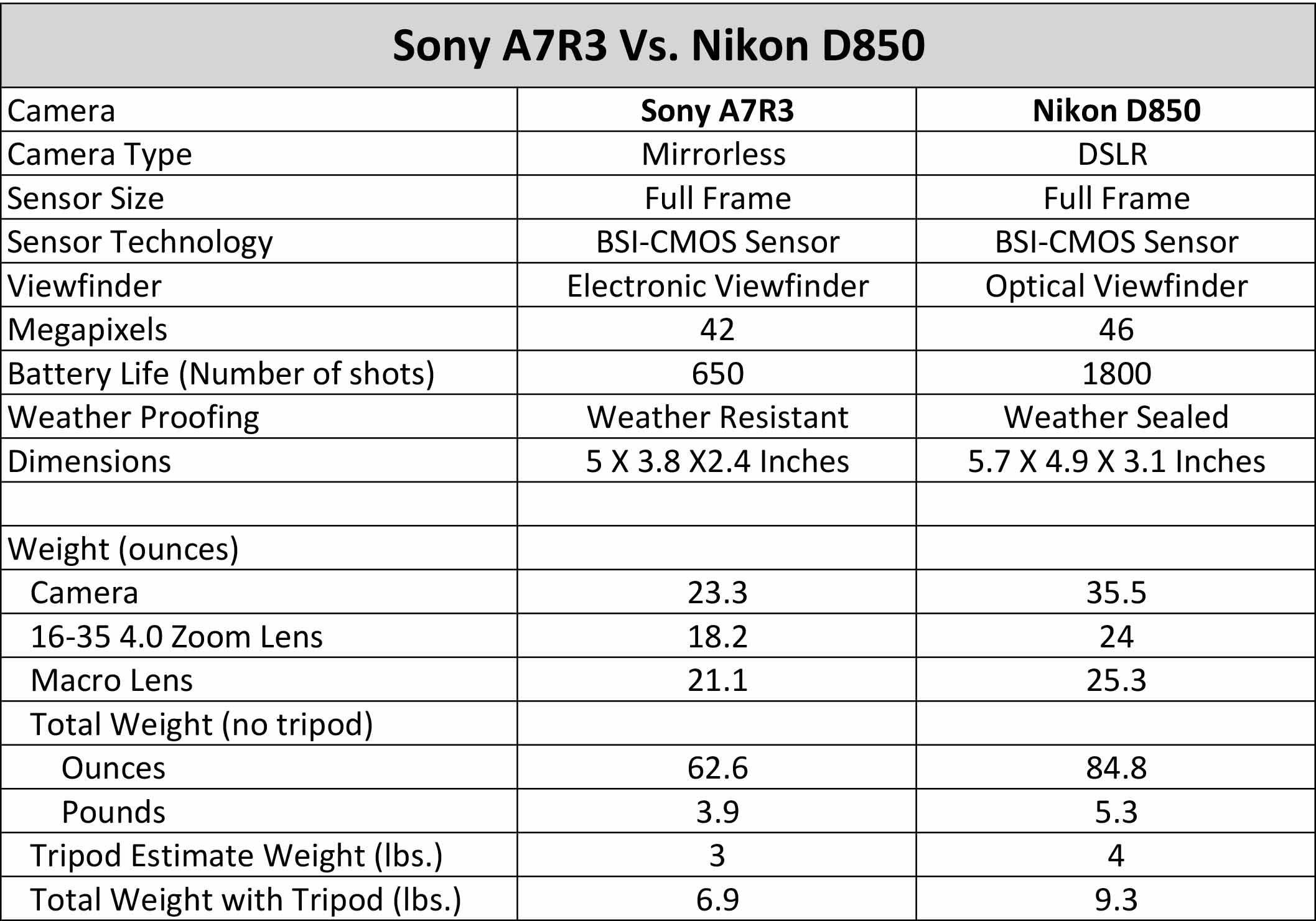 Sony versus Nikon
